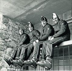 Ski Vintage, Knit Beanie, Knitted Beanies, Ski Equipment, Ski Posters, 60s And 70s Fashion, Alpine Skiing, Best Ads, Ski Boots