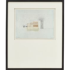 Stacks 4 Print - Part of series Julie S. Graham created in response to the view outside her studio. Maintaining a studio in an industrial area of Boston, Graham became fascinated with the contrast between the organic forms found in nature and the geometric order of the manmade environment. In her delicately sketched and subtly colored drawing, she situates an orderly stacks of ovals and rectangles next to an explosion of tiny, randomly dispersed dots.