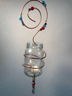 Crystal Pendant, Crystal Jewelry, Crystal Necklace, Jar Jar, Bead Bottle, Hanging Mason Jars, Copper Decor, Chakra Necklace, Mason Jar Gifts