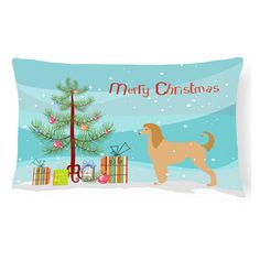 Carolines Treasures Afghan Hound Merry Christmas Tree Rectangle Decorative Outdoor Pillow - BB2924PW1216