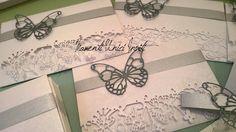 Partecipazione invito modello Volo Lieve color grigio perla e grigio melange - Butterflies wedding invitation Bead