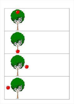 appel en boom voor, boven, onder, naast, links en rechts