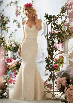 Informal wedding dress from Voyage by Mori Lee Style 6761 Poetic Lace (removable beaded tie sash)