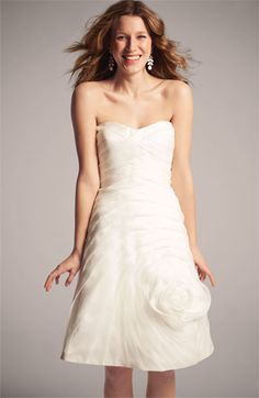Carmen Marc Valvo Pleated Rosette Silk Chiffon Dress via @Nordstrom #wedding