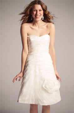 Carmen Marc Valvo Pleated Rosette Silk Chiffon Dress   Nordstrom - for a casual wedding