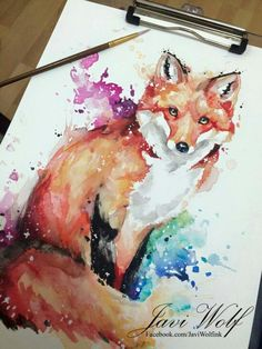 Watercolor fox More Más