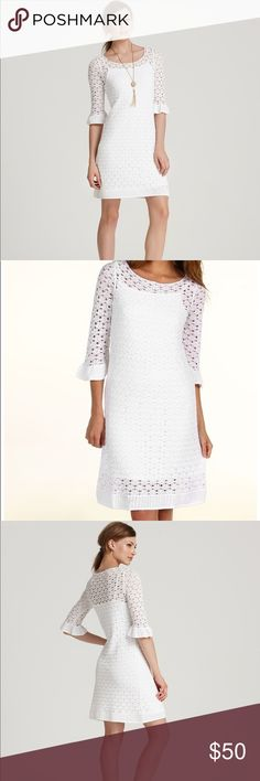 Lilly Pulitzer Shauna Crochet Dress Size Medium Brand- Lilly Pulitzer   EUC only worn a couple of times women's white crochet dress size medium. * Shauna crochet dress* below the elbow ruffle sleeve/boat neck sweater dress- white stretchy dress with crochet overlay- has snaps to adjust and keep the straps put- no longer sold and sold out on website-ruffle trim- from top to bottom is 40 inches - price is firm as I have it listed cheaper then anyone Lilly Pulitzer Dresses