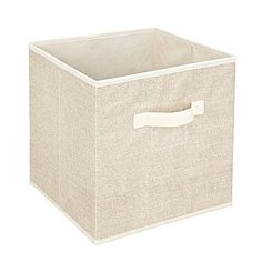 $13.99 12 x 12 x 12 Stables  like the clear label area Simplify Faux Jute Polypropylene/Cardboard Box Cube, Off-White