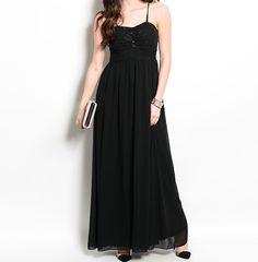 Black Sequin Bodice Full Length Formal Empire Waist Ruffle Prom Stretch Dress #Fashion #EmpireWaist #Formal #Prom-Dress #Style