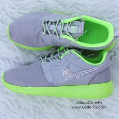 Image of New Women's Nike Roshe w/ Swarovski Rhinestones - Gray & Lime