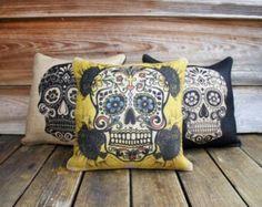 . Burlap Fabric, Burlap Pillows, Custom Pillows, Throw Pillows, Unique Home Decor, Home Decor Items, Pillow Set, Pillow Covers, Sugar Skull Decor