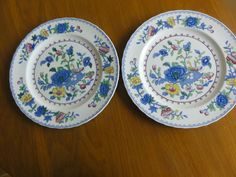 "2 Masons Regency England Old Colonial Dinner Plates 10.25"" Blue yellow Ironstone"