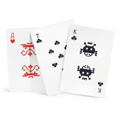 Modeled after the eight-bit computer game from the '80s, the Space Invader's Cards by Art. Lebedev Studio are designed in the classic white, black and red style, but with the Kings, Queens, Jacks and Aces replaced by pixelated alien icons.