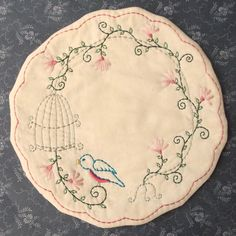 Primitive Stitchery Candle Mat PATTERN Bird Cage by thetalkingcrow, $3.00