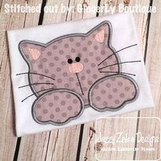 Cat 42 Appliqué embroidery Design - kitten Applique Design - cat Applique Design Comes in 6x10, 5x7 4x4 and 8x8 sizes xxx, pes, vp3, hus, sew, jef and dst Fonts, words and Monograms not included www.jazzyzebra.com This is not a physical item, paper pattern or a patch. This is a