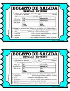 Use Regular -ER Verb Exit Slip to check for comprehension after teaching how to conjugate ER verbs in Spanish. French Lessons, Spanish Lessons, Spanish 1, Spanish Games, Spanish Alphabet, Learn Spanish, Spanish Classroom Activities, Vocabulary Activities, Teaching French