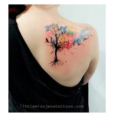 One from the other day with sarah :) thanks so much for the skin hun! Happy healing :D #watercolourtattoos #watercolortattoo #paintedtattoo #paintedtattoos #wctattoos #ladyartists #abstracttattoos #watercolor #watercolours #watercolour  #adelaidetattoos #adelaidetattooartist #ravens #tree #music