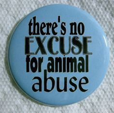 theres no excuse for animal abuse pin or magnet by thedogcoatlady, $1.00