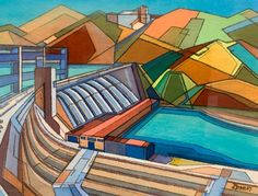 <p>Frank Gross <strong>Tamed River </strong>1957. Gouache and pastel. Donated from the Canterbury Public Library Collection, 2001. Reproduced with permission.</p>