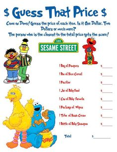 sesame street baby shower | Sesame Street: Guess That Price Shower Game