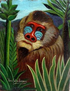 Mandrill in the Jungle : Henri Rousseau : Naive Art (Primitivism) : wildlife painting - Oil Painting Reproductions Henri Rousseau Paintings, Art Conceptual, Jungle Art, Wildlife Paintings, Oil Paintings, Post Impressionism, Oil Painting Reproductions, Norman Rockwell, Naive Art