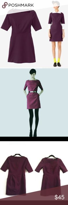 """KATE SPADE Saturday SLASH POCKET Shift Dress Color is dark purple🔸Slim fit🔸Size 4🔸Hits above the knee🔸33.5"""" long from neckline🔸98% Cotton, 2% Elastane🔸no stain no holes very good condition kate spade Dresses"""