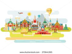 Thailand colorful detailed illustration. Vector background - stock vector