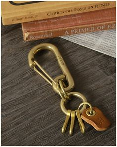 Rakuten: Brass carabiner type key ring men male unisex lady's woman with Hawk Company( Hawk Company) antiqued leather plate- Shopping Japanese products from Japan