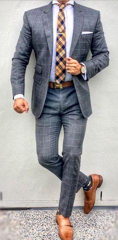men's fashion style outfit rids tips and men's fashion advices hsen mn Costume Gris, Mode Costume, Mens Fashion Suits, Mens Suits, Plaid Suit, Windowpane Suit, Designer Suits For Men, La Mode Masculine, Bespoke Suit