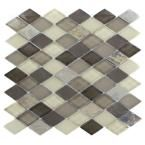 Tectonic Diamond Multicolor Slate and Khaki Blend 11 in. x 12 in. x 8 mm Glass Floor and Wall Tile (Backsplash?)
