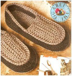 El Minihogar Crochet: PANTUFLAS BICOLOR PARA CABALLEROS