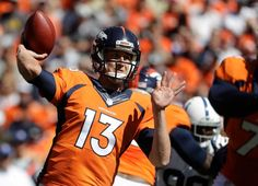 Denver Broncos quarterback Trevor Siemian passes against the Indianapolis Colts during the first half in a NFL football game, Sunday, Sept. 18, 2016, in Denver.