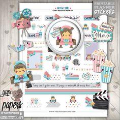Movie Stickers, Planner Stickers, Movie Planner Stickers, Kawaii Stickers, Cinema Stickers, Planner Accessories, Film, Theater, Popcorn