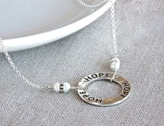 HOPE Sterling Silver Chain Necklace by ThePassionatePearl on Etsy, $51.00 #SterlingSilver #Hope #HopeRing #ChainNecklace #ChristianJewelry