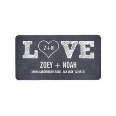 Stylishly Chalked Wedding Address Labels Custom Address Label