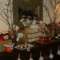 Treats table at a Thanksgiving party!  See more party planning ideas at CatchMyParty.com!