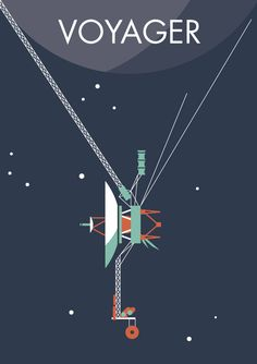Voyager 1 & 2 - Two NASA space probes, one grand tour of the solar system - Jupiter, Uranus, Saturn and Neptune. Now available as posters, prints, stickers, notebooks and more... http://rdbl.co/2ki65um