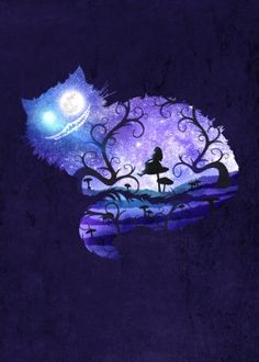designstudio cat purple mad alice wonderland fantasy fairytale book story crazy surreal whimsical silhouette moon night dream illustration