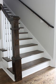 Stained Stair Staircase Steps Post Handrail Painted Balusters