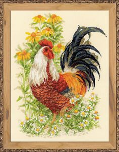 """Гоблен Риолис 1479 """"Петел"""" - Кадифе Крафт Rooster Cross Stitch, Counted Cross Stitch Kits, Cross Stitch Charts, Cross Stitch Patterns, Hand Embroidery Kits, Cross Stitch Embroidery, Embroidery Patterns, Gata Marie, Hello Kitty"""