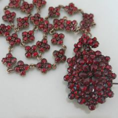 Antique Victorian Bohemian Garnet Pendant Locket Brooch Pin Necklace