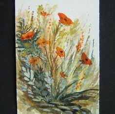 floral garden flowers aceo art original painting ref 27 £4.00