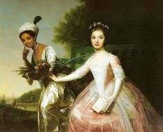 Lady Elizabeth Murray and Dido Belle Lindsay by an unknown artist c 1779  These young women were cousins.  Check out the full blog post for an interesting story.