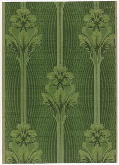 Art nouveau; fantasy flower with leaves on vertical one inch wide stem which connects to the next flower. Distance of stems is five inches. A background of vertical undulative stripes, from narrow to wide to narrow, are all-over. Printed in green, dark green and lime green pigment.