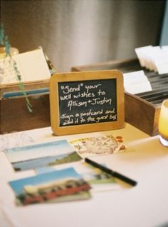 Cute sign for postcard table.