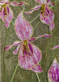 pink machine embroidered and beaded orchid