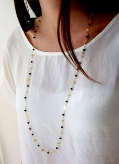 Gold chain gold necklace long necklace delicate by meravlevran, $60.00