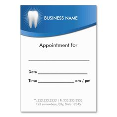 medical appointment card template free - dentist appointment card business card it is the o 39 jays