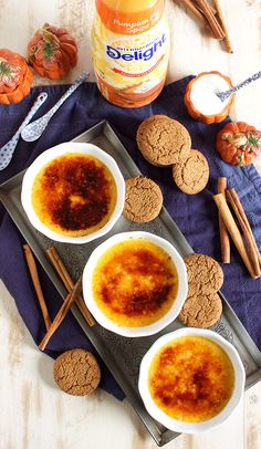 The BEST fall dessert, Pumpkin Spice Creme Brûlée recipe is super easy to make. A great make ahead option for entertaining and holidays. No Cook Desserts, Fall Desserts, Just Desserts, Dessert Recipes, Fall Recipes, Holiday Recipes, Pumpkin Recipes, Christmas Recipes, Pumpkin Delight