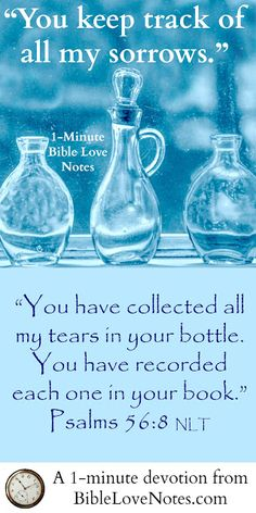 What a wonderful truth - God knows our pain. He sees our tears. He records our sorrows. And one day He will wipe away every tear. This 1-minute devotion will encourage you!